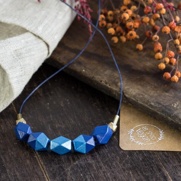 LE SHOP VEGAN Kette mit Holzperlen Kobaltblau