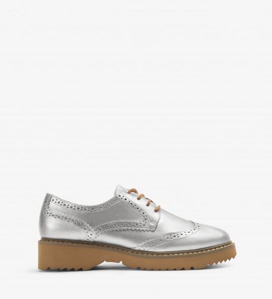 MATT & NAT vegane Oxford Schuhe Silber