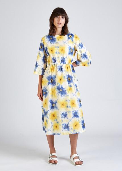 Stoffbruch veganes Batik Kleid Amelie Blue/Yellow